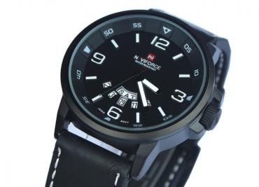Мужские водонепроницаемые часы NAVIFORCE с кожаным ремешком