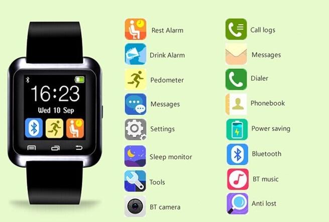 Наручные смарт часы UWatch U8 (черные)